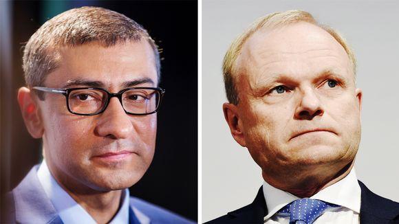 Nokian väistyvä toimitusjohtaja Rajeev Suri ja tuleva toimitusjohtaja Pekka Lundmark.