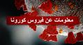 Kuva koronaviruksesta. Tekstissä lukee arabiaksi Tietoa koronaviruksesta arabiaksi.