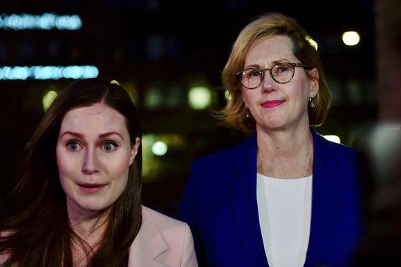 Pääministeri Sanna Marin ja työministeri Tuula Haatainen.