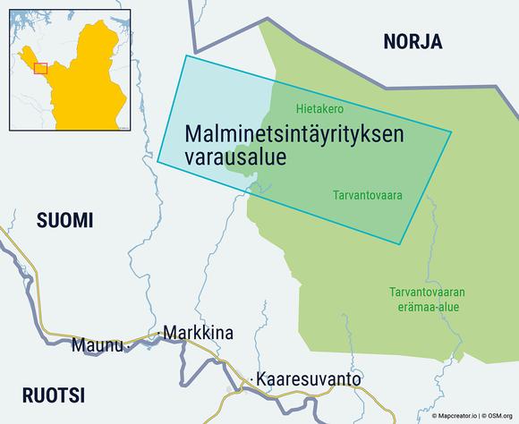 Malminetsintäyrityksen varausalue Suomen Käsivarressa.
