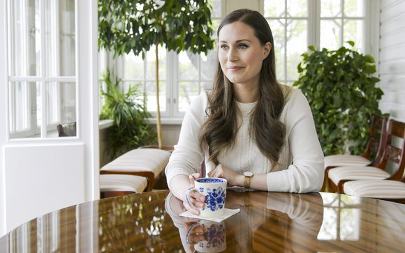 Pääministeri Sanna Marin STT:n haastattelussa pääministerin virka-asunnolla Kesärannassa Helsingissä 25. toukokuuta.