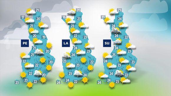Sääennuste tulevalle viikonlopulle.