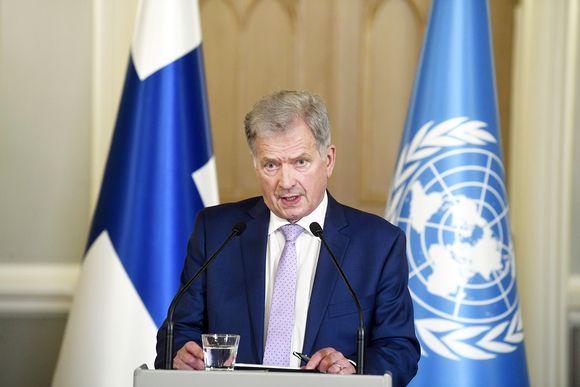 Tasavallan presidentti Sauli Niinistö tapaa mediaa YK:n yleiskokouspuheenvuoronsa jälkeen Presidentinlinnassa Helsingissä.