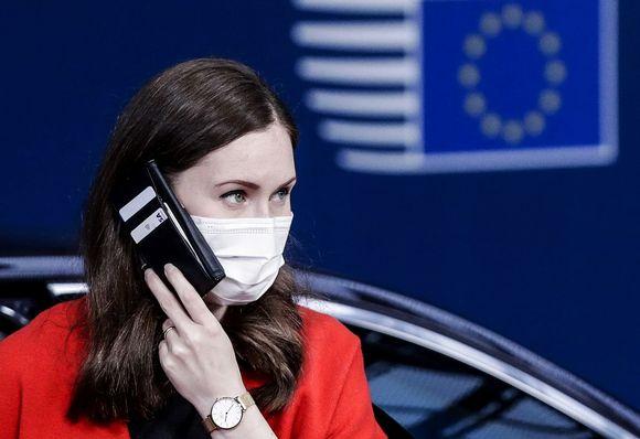 Kuvassa Sanna Marin on Brysselissä.