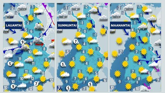 Viinkoloppu on aurinkoinen lähes koko maassa.
