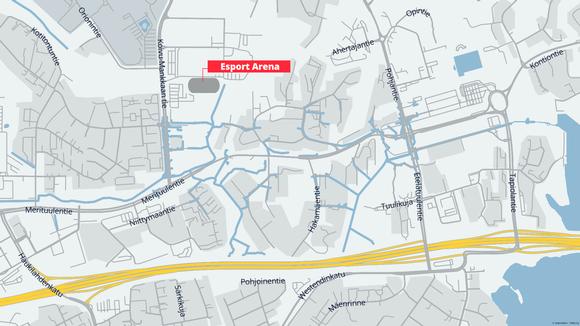 Kartta Esport Arenan sijainnista.