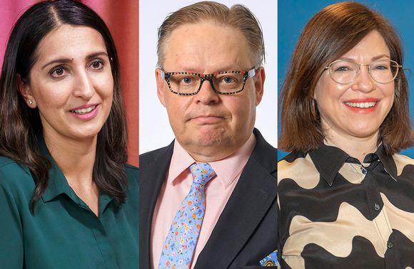 Pormestariehdokkaat Nasima Razmyar, Juhana Vartiainen ja Anni Sinnemäki.