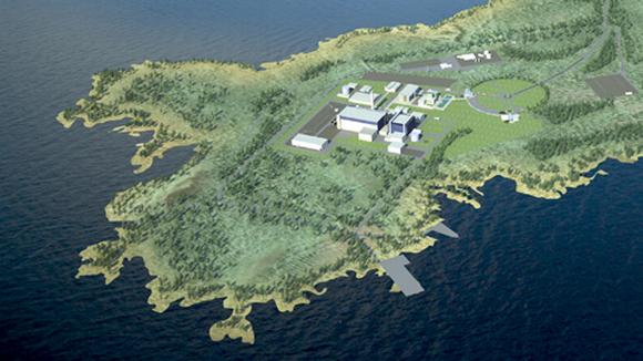 Havainnekuva Fennovoiman suunnittelemasta ydinvoimalasta Pyhäjoelle.