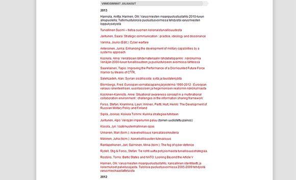Lista maanpuolustuskorkeakoun verkkosivuilla julkaistuista tutkimuksista. Kuvankaappaus on otettu sunnuntaiaamuna 27. lokakuuta.