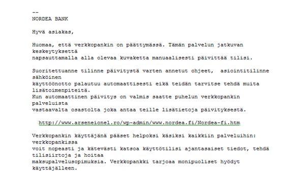 Kuvankaappaus huijaussähköpostista, jossa väitetään, että käyttäjän verkkopankki olevan sulkeutumassa.
