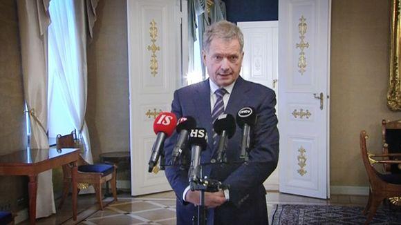 Presidentti Sauli Niinistö pitää puhettaan 20. tammikuuta 2015.