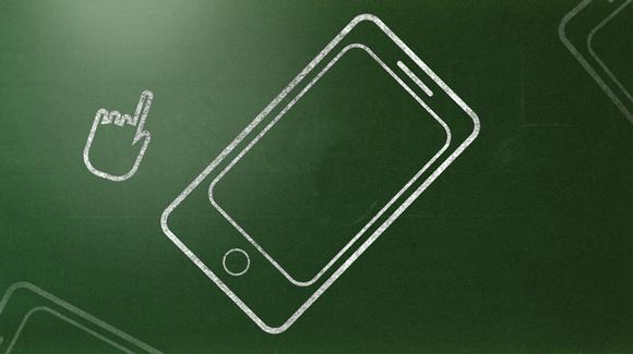Grafiikka, jossa älypuhelin liitutaululla.