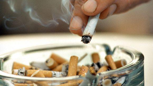 Tupakasta karistetaan tuhkat tuhkakuppiin.