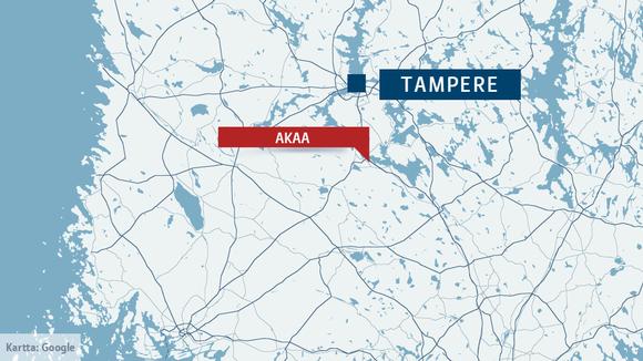 Kartta jossa Akaa ja Tampere
