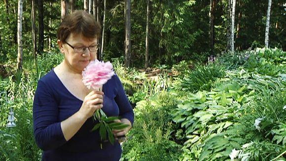 Nainen haistaa suurta kukkaa.