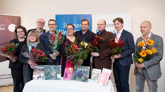 Tietofinlandia-palkintosaajaehdokkaat Helsingissä 31. lokakuuta.