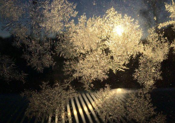 Jääkiteitä ikkunassa
