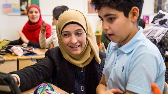Hanan Al Hroub koululuokassa.
