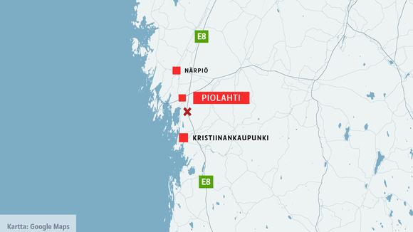 Kartta, jossa näkyvät Närpiö, Piolahti, onnettomuuspaikka ja Kristiinankaupunki.