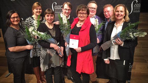 Selkouutisten työryhmä (Margit Alasalmi, Monna Tervo, Merja Windia, Jan Fredriksson, Pälvi Tammi, Petteri Löppönen, Pertti Seppä ja Krista Taubert).