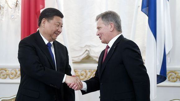 Xi Jinping ja Sauli Niinistö tapasivat Presidentinlinnassa.