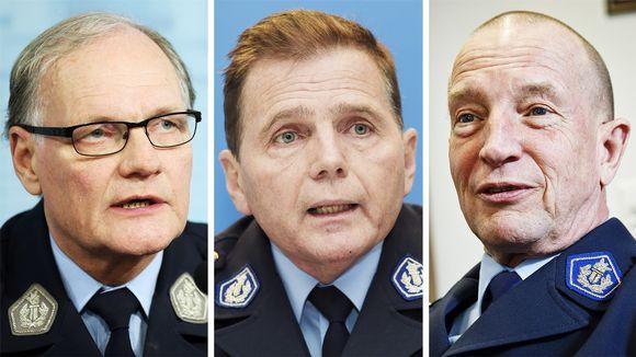Poliisiylijohtaja Mikko Paatero, Helsingin poliisilaitoksen poliisipäällikkö Lasse Aapio ja Helsingin poliisikomentaja Jukka Riikonen.