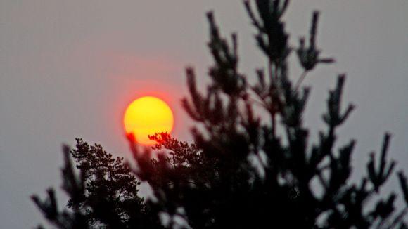 Punainen aurinko Helsingin taivaalla.