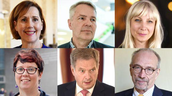 Tuula Haatainen, Pekka Haavisto, Laura Huhtasaari, Merja Kyllönen, Sauli Niinistö, Nils Torvalds