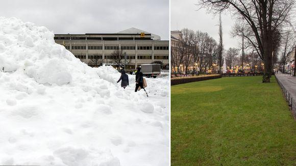 Kuvakombo jossa lumikinoksia Kokkolassa ja vihertävä nurmikko Esplanadilla Helsingissä.