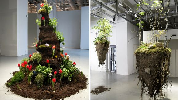 Raimo Saarisen teoksia, joissa on käytetty eläviä kasveja.