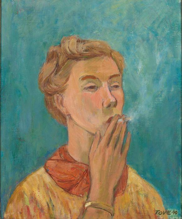 Tove Jansson maalasi öljyvärityön Tupakoiva tyttö vuonna 1940.