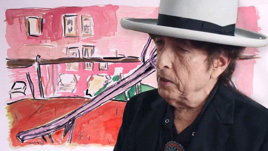 Bob Dylan maalauksensa edessä.