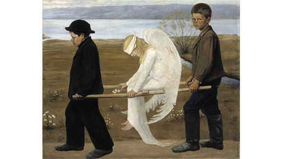 Hugo Simberg: Haavoittunut enkeli (1903). Öljyvärimaalaus