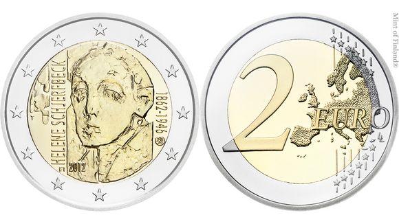 Helene Schjerfbeckin kunniaksi julkaistu juhlaraha.