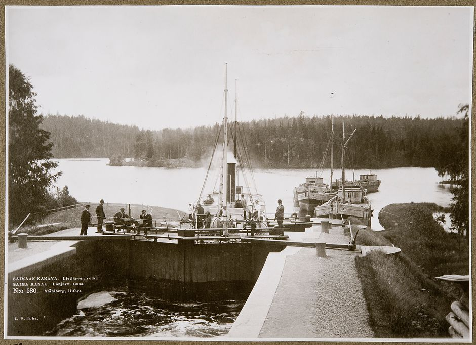 Lietjärven sulku Saimaan kanavassa 1890-luvulla.