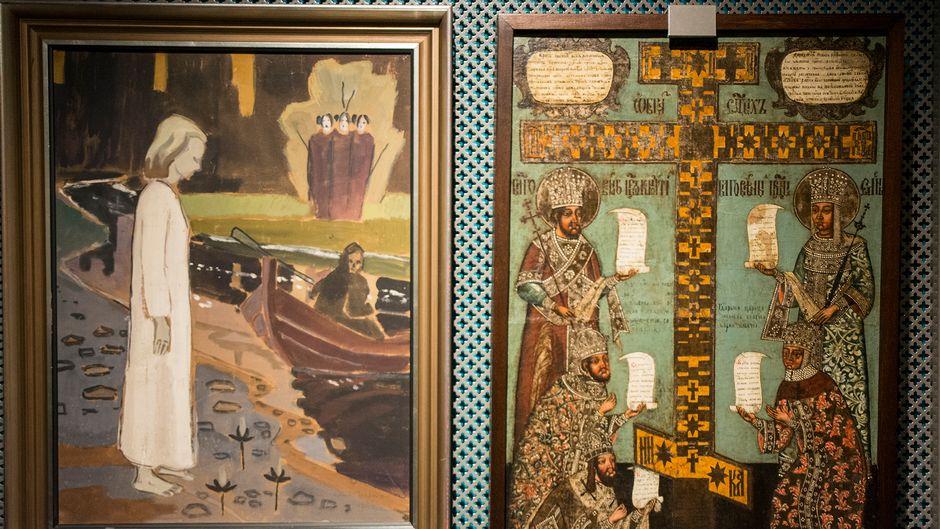 Osmo Isakssonin öljyvärimaalaus ja vanha ikoni