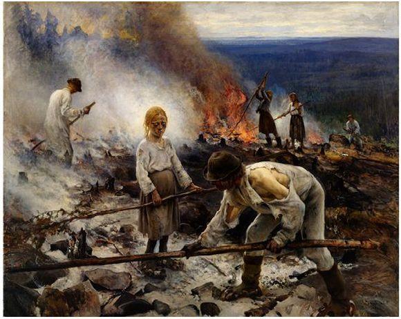 Eero Järnefelt: Raatajat rahanalaiset/Kaski (1893).