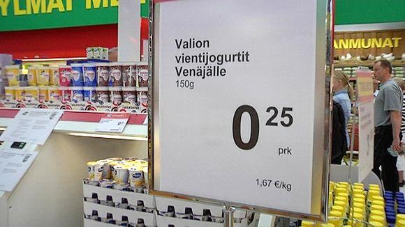 Valion vientijogurttien myyntiä City-marketissa Lappeenrannassa.