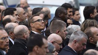 Suomen pääministeri Alexander Stubb marssilla Pariisissa sunnuntaina.