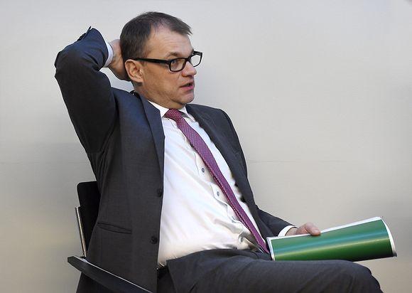 Keskustan puheenjohtaja, pääministeri Juha Sipilä perussuomalaisten ryhmäkokouksessa eduskunnassa Helsingissä.