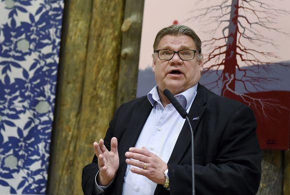 Perussuomalaisten puheenjohtaja ulkoministeri Timo Soini Perussuomalaisten ministeriryhmän maakuntakierroksella Sallassa 22. tammikuuta 2016.