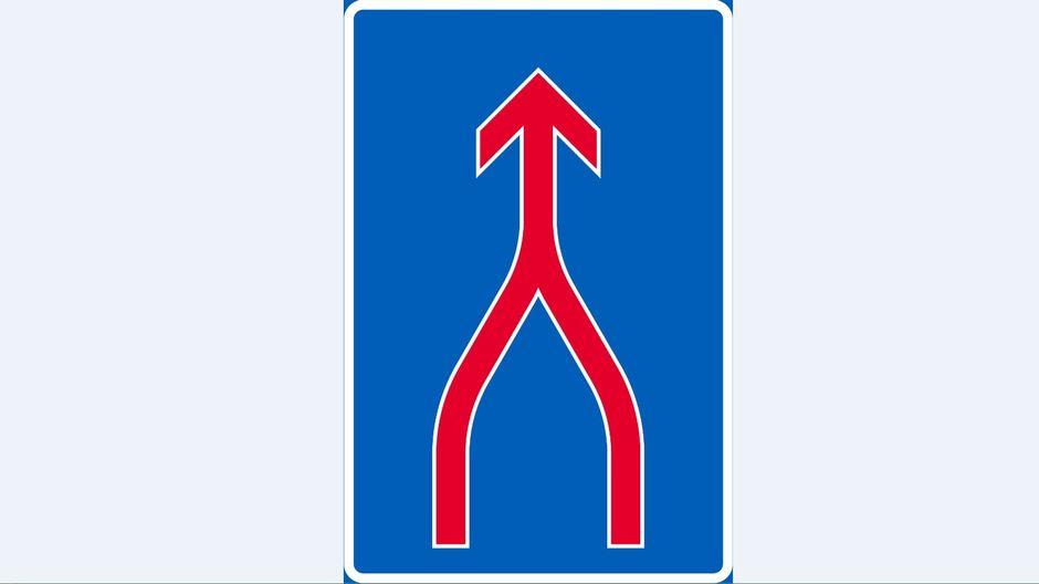 Ajokaistojen yhdistyminen -liikennemerkki
