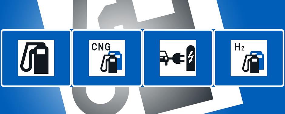Neljä erilaista polttoaineen jakelumerkkiä.