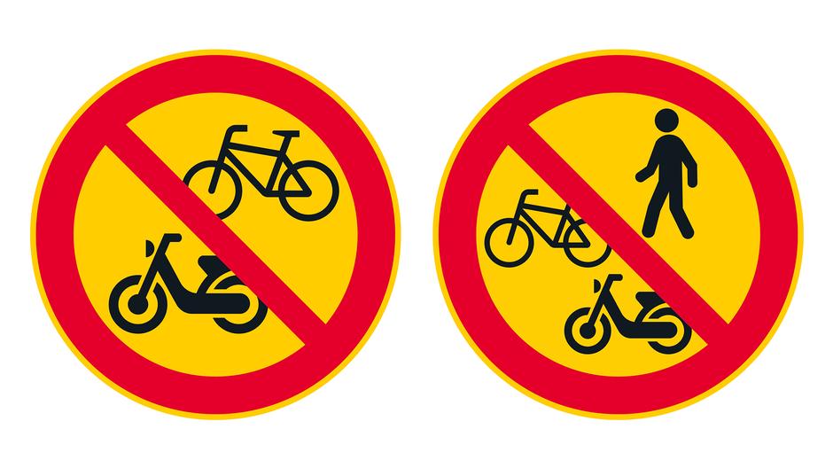 Vasemmalla polkupyörällä ja mopolla ajo kielletty -liikennemerkki. Oikealla jalankulku ja polkupyorällä ja mopolla ajo kielletty -liikennemerkki.