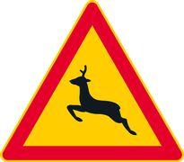 Kauriseläimestä varoittava liikennemerkki