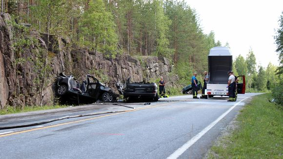 Mäntyharjulla tapahtuneen nokkakolarin onnettomuuspaikka.