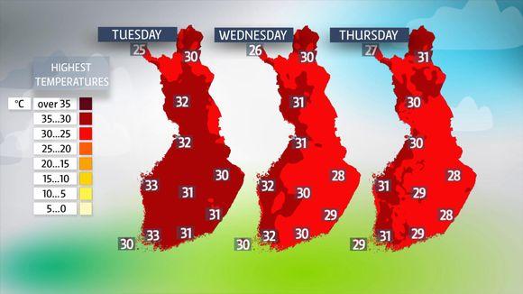 highest temperatures