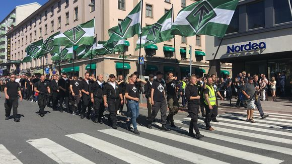 Nordic Resistance Movement marchers chant