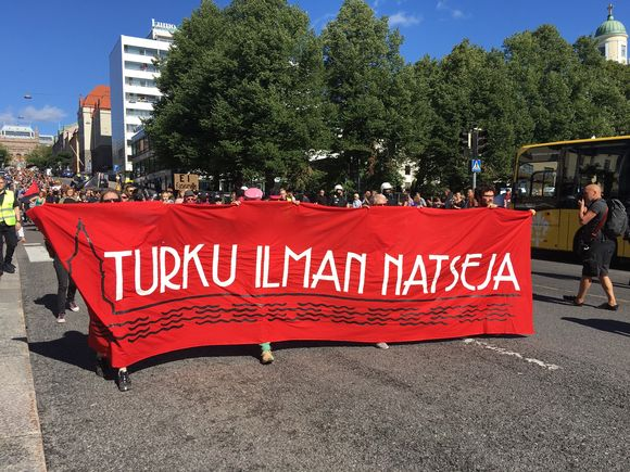 A Turku without Nazis procession moves toward the Turku city centre on 18 August 2018.