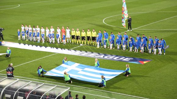 Finland and Greece line up before their Nations League group C2 game at Tampere's Ratina Stadium